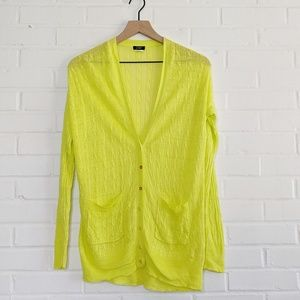 J. Crew Linen Cable Knit Cardigan Neon Lime Yellow